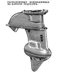 Расположение водозаборника на корпусе редуктора