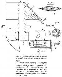 Рис. 1. Доработка гребного винта и подводной части мотора «Ветерок»