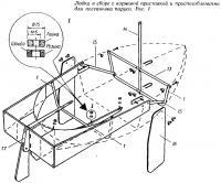 Рис. 1. Лодка в сборе с кормовой приставкой и приспособлениями для постановки паруса