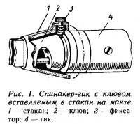 Рис. 1. Спинакер-гик с клювом, вставляемым в стакан на мачте