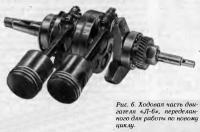 Рис. 6. Ходовая часть двигателя «Л-6», переделанного для работы по новому циклу