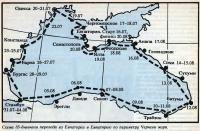 Схема 35-дневного перехода по периметру Черного моря