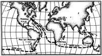 Схема маршрута кругосветной гонки яхтсменов-одиночек «ВОС 1986-87»