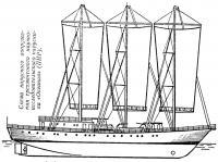 Схема парусного вооружения научно-исследовательского парусника «Океания»