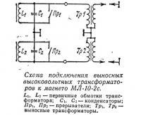 Схема подключения высоковольтных трансформаторов к магнето МЛ-10-2c