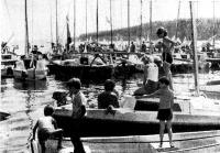 Стоянка пришедших на Мазуры яхт в Николайки