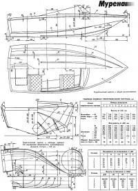 Теоретический чертеж и общее расположение катера
