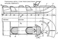 Теоретический чертеж и схема общего расположения мотолодки «Надежда-Р»