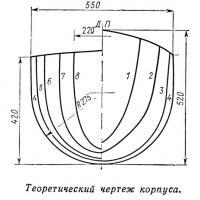 Теоретический чертеж корпуса катамарана