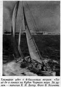 Тримаран идет с 6-балльным ветром. «Таис-3» в гонках на Кубок Черного моря