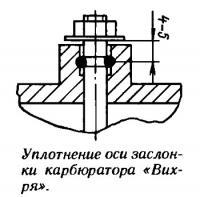 Уплотнение оси заслонки карбюратора «Вихря»
