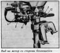 Вид на мотор со стороны бензонасоса