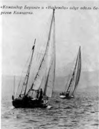 Яхты «Командор Беринг» и «Надежда» идут вдоль берега Камчатки