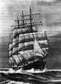 Барк «Памир» под всеми парусами