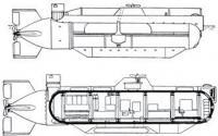 Боковой вид и поперечный разрез лодки
