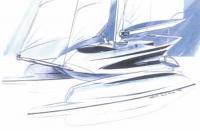 Эскиз моторно-парусного катамарана Fast Motorsailer