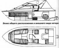 Эскиз общего расположения и внешнего вида катера