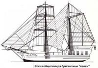 Эскиз общего вида бригантины «Авось»
