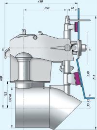 Эскиз общего вида подвесного водомета ВППО-90