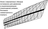 Эскиз современных обводов катамарана для движения в водоизмещающем режиме
