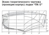 """Эскиз теоретического чертежа лодки """"ПК-5"""""""