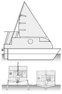 Эскиз трансформируемого двухрежимного судна под мотором и под парусом