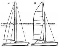 Форма грота при полноповоротной мачте и поворотной