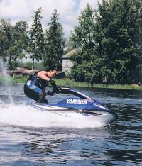 Гидроцикл Yamaha SuperJet на ходу