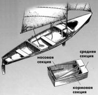 Главный корпус тримарана в разобранном и собранном виде