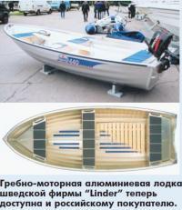 Гребно-моторная алюминиевая лодка шведской фирмы