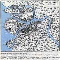 Историческая карта Петербурга в 1725 году