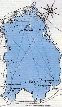 Карта маяков Ладожского озера