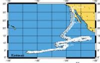 Карта пути лодки от старта до момента спасения, апрель 2000 г.
