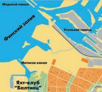 Карта расположения яхт-клуба «Балтиец»