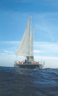 Катамаран «Благовест» под парусами на ходу