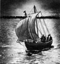 Коч «Зарни ань» под парусами