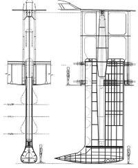 Конструкция 156-тонного подъемного киля и механизм его подъема и опускания