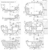 Конструктивные сечения по шпангоутам I–P