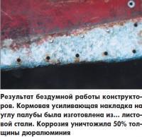 Кормовая усиливающая накладка на углу палубы изготовлена из листовой стали