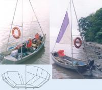 Лодка Бриз-42 с мачтами