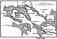 Маршрутная схема по озерам Кольского полуострова