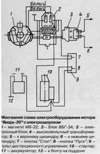 """Монтажная схема электрооборудования мотора """"Вихрь-30"""""""