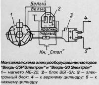 """Монтажная схема электрооборудования моторов """"Вихрь-Электрон"""""""