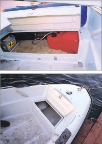 Объем сухих рундуков в корме и в носу как на большой лодке