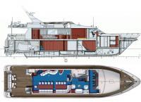Общее расположение катера: продольный разрез и план