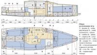 """Общее расположение яхты """"Кавалер 800"""""""