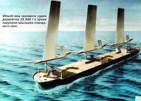 Общий вид грузового судна с тремя парусами-крыльями планерного типа
