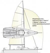"""Общий вид и план парусности яхты """"Ракета"""""""