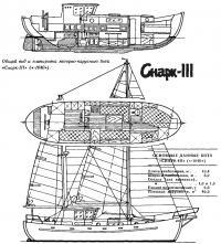 Общий вид и планировка моторно-парусного бота «Снарк-III»