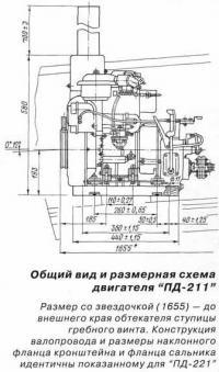 Общий вид и размерная схема двигателя ПД-211
